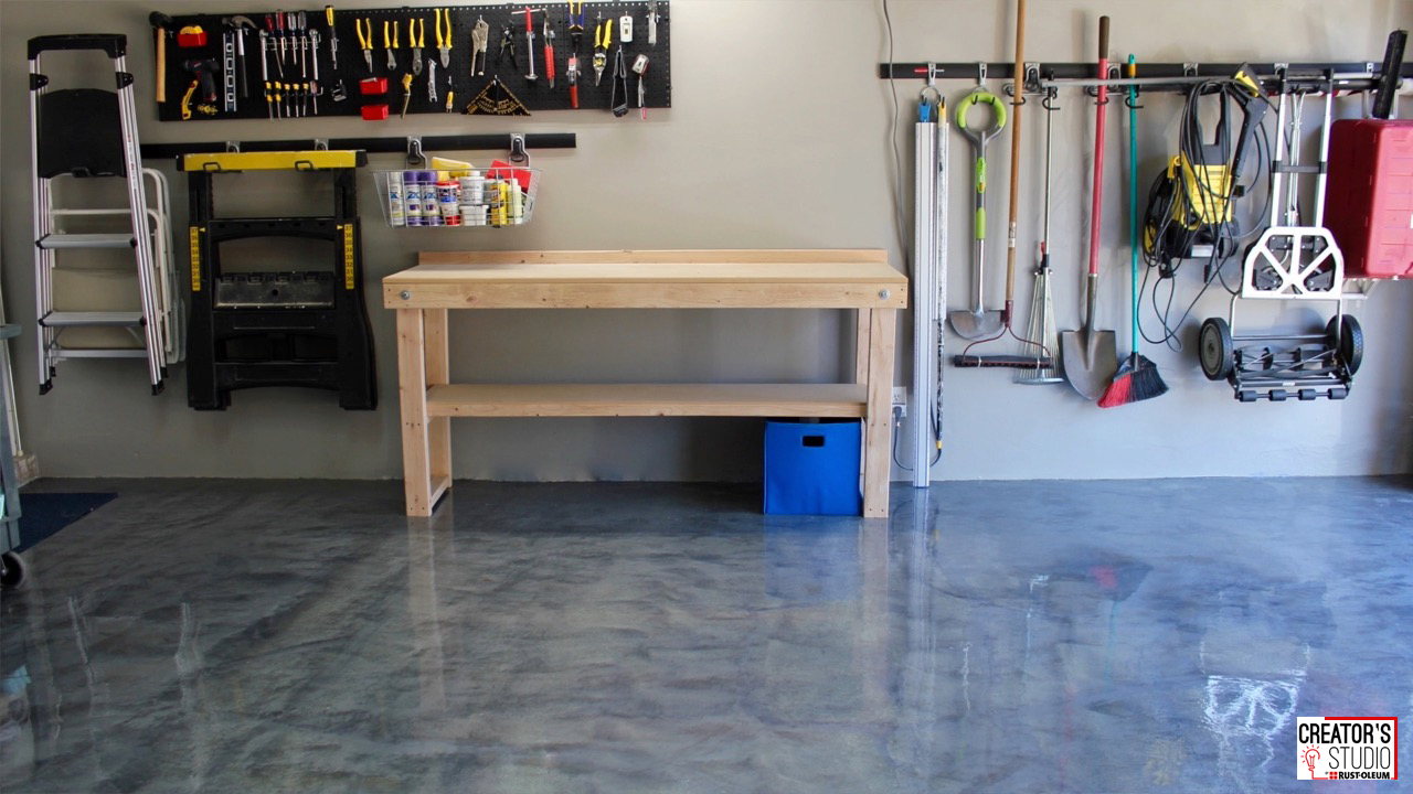 Diy garage floor makeover with rocksolid metallic floor coating solutioingenieria Choice Image